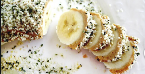 banana sushi roll with hemp seeds and chia seeds